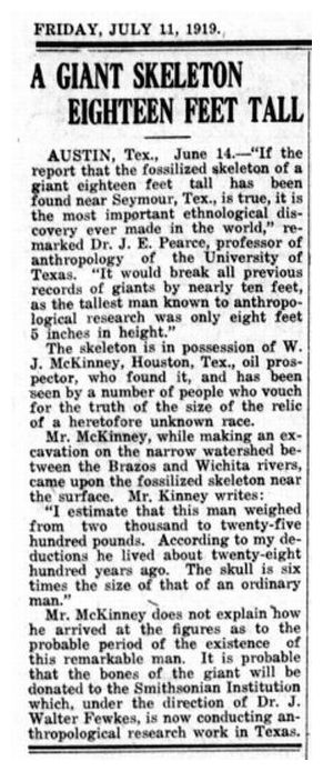 dozens or hundreds of newspaper articles about  US giant skeletons exist, most around 1900