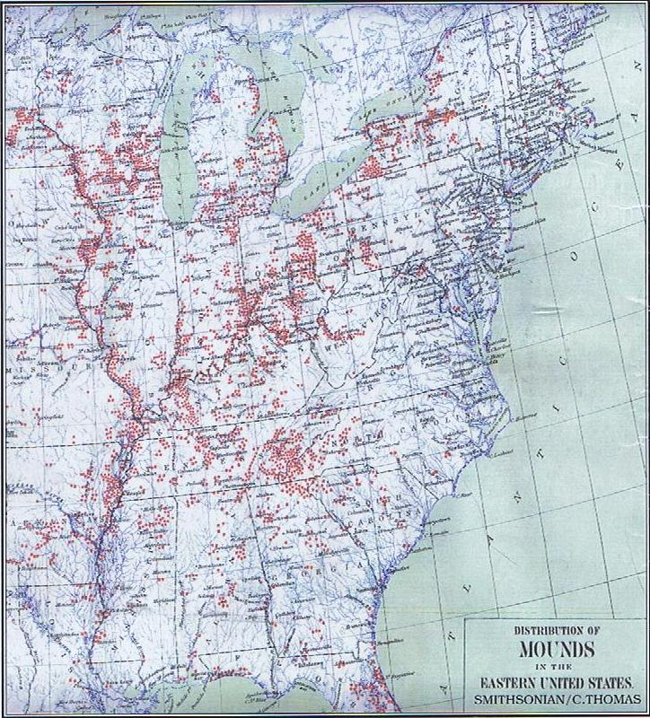 Old Smithsonian Map of Mounds blanketing most of the Eastern ...