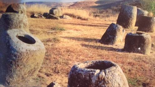 Pic of the mysterious Plain of Jars probably made by giants in central Laos.  They average 5 feet in diameter and height.  Some are 10 feet tall and weigh 15 tons.